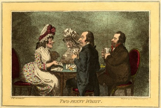 James Gillray, Two Penny Whist, 1796. The two ladies at the table are said to be portraits of (r-l) Hannah Humphrey and her housemaid Betty. Despite her elderly appearance, Mrs Humphrey would have been about 55 at the time this print was published.