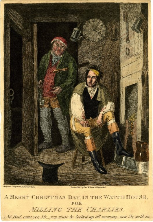 A Merry Christmas Day in the Watch House. Published by Thomas McLean c. 1830. A young man is confined in the watch house for fighting with police.