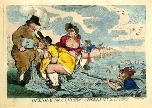 Isaac Cruikshank, Opening the sluces or Hollands last shift, (1794). Cruikshank blurs the lines between political satire, lavatorial humour and erotica in this 1794 print for Aitken. Needlessly bare-breasted Flemish women are depicted suggestively guzzling from the phallic spout of a gin bottle while drowning an approach French army with their urine.