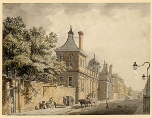 The scene of the crime - Montagu House, the original home of the British Museum c.1800.