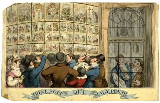 An 1821 caricature of Humphrey's shop on St James's street. The figures that can be seen through the door on the right are thought to be Theodore Lane and George Humphrey.
